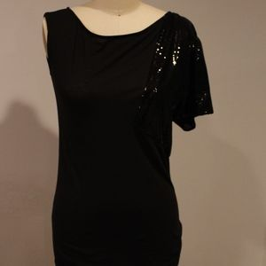 Tops - One Shoulder Top w/ Sequined Short Sleeve